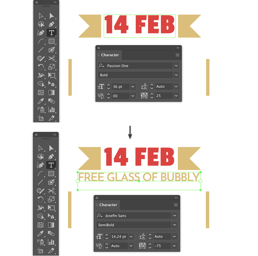 Type tool character settings font font size tracking type bounding box