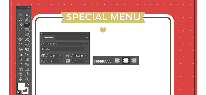 Use type bounding box to add type font special menu on back flyer ribbon