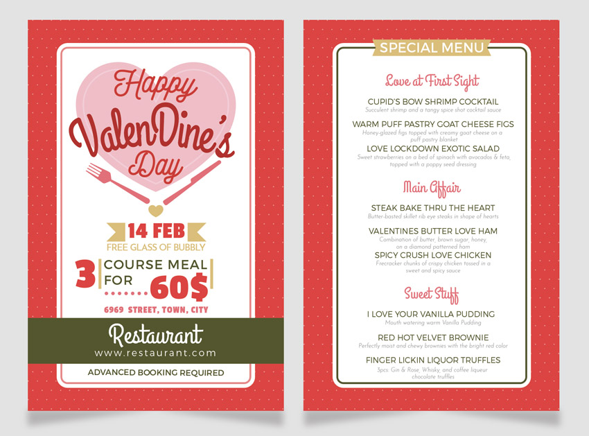 final design valentines dinner menu flyer adobe illustrator misschatz lyer templates flyer design how to make a flyer event flyer menu template