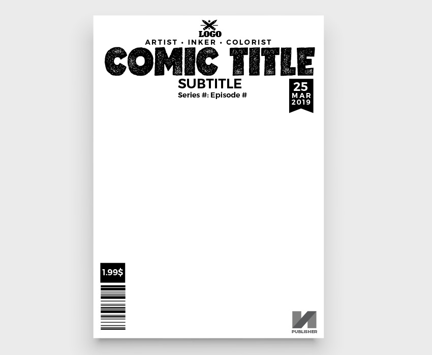 how to set up comic book cover template cmic book cover template needed logo title date  elements for publication author publisher price series episode artist barcode price