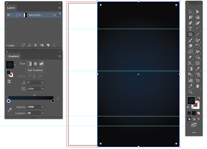 open gradient panel apply radial gradient rectangle tool