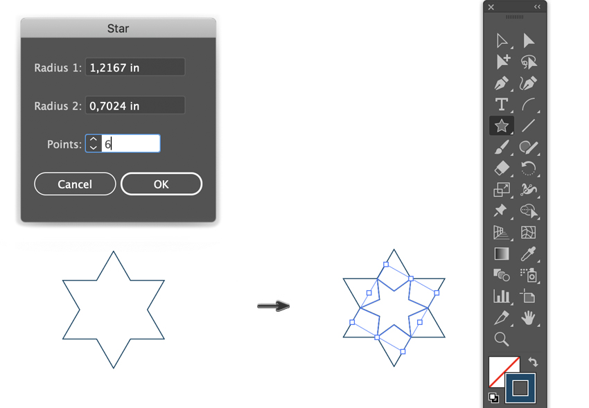 how to draw a star dialog box set radius 1 2 and points draw and rotate
