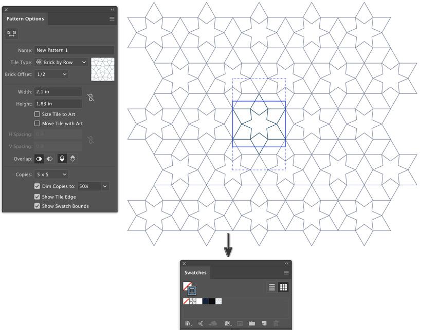object patern make pattern options dialog box