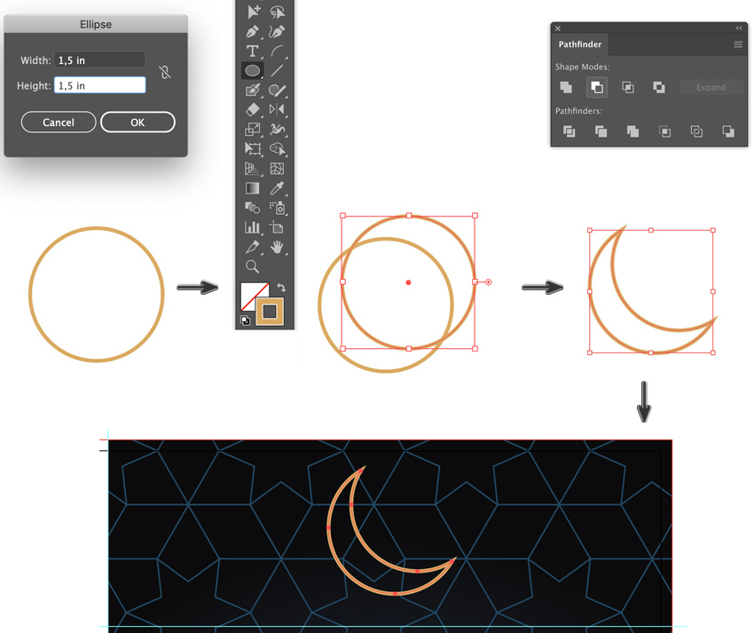 how to create a moon crecent two overlapping circles stroke pathfinder panel shape modes minus front