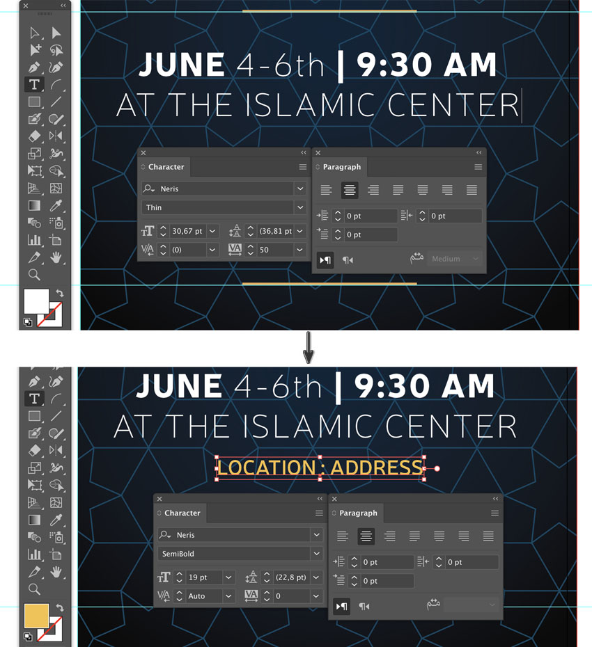how to add event location using character panel font type settings style size and leading