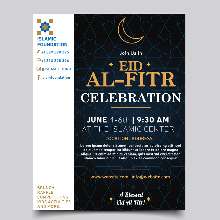 Final image for Eid Al Fitr celebration event flyer template design easy by misschatz