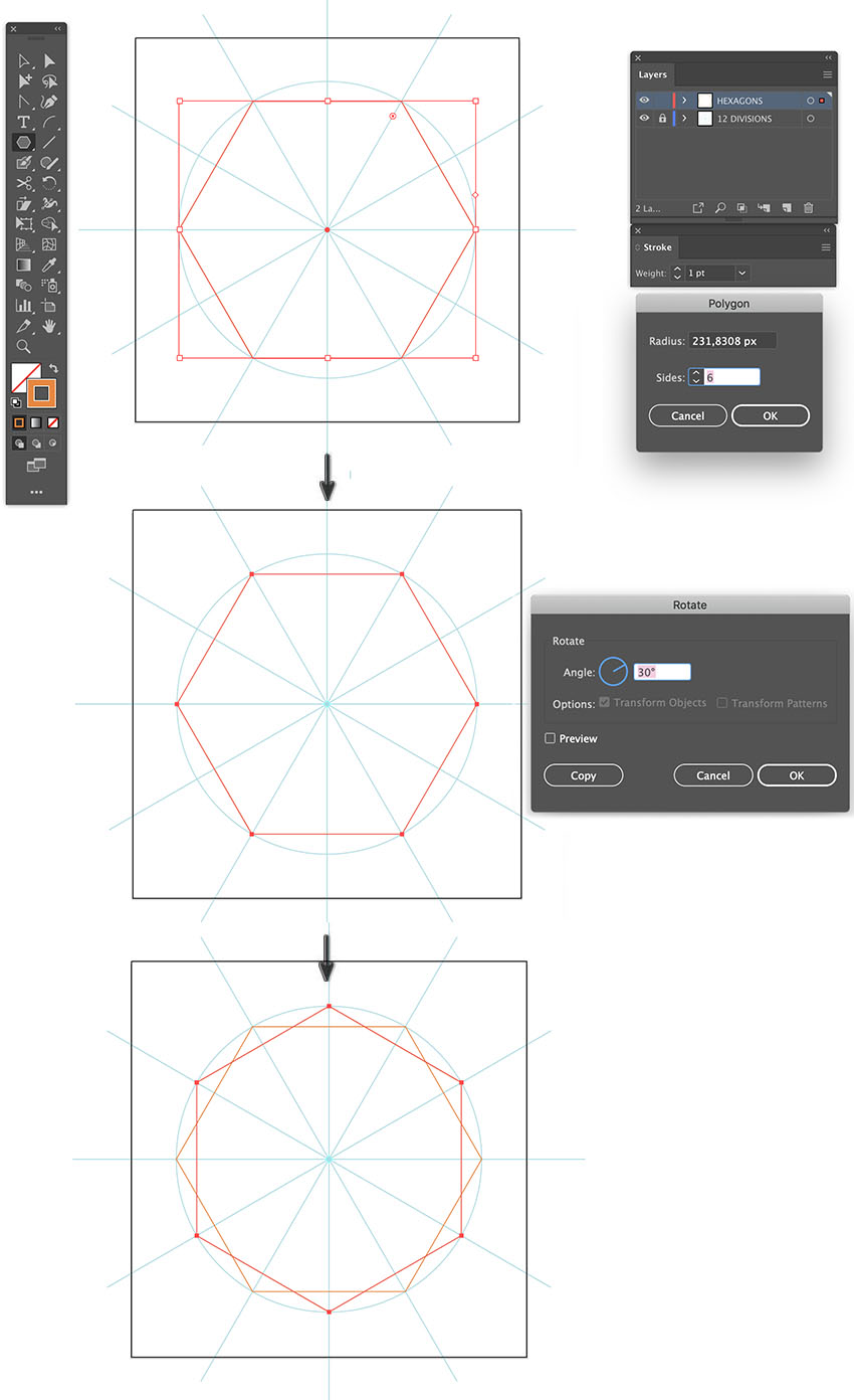 how to make pattern in Illustrator create a polygon hexagon 6 sided rotate 30 degree angle Arabic pattern