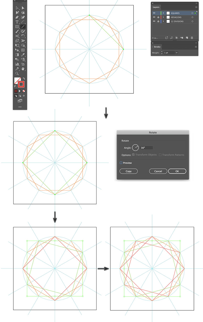 How to create repeating pattern illustrator using Line segment tool