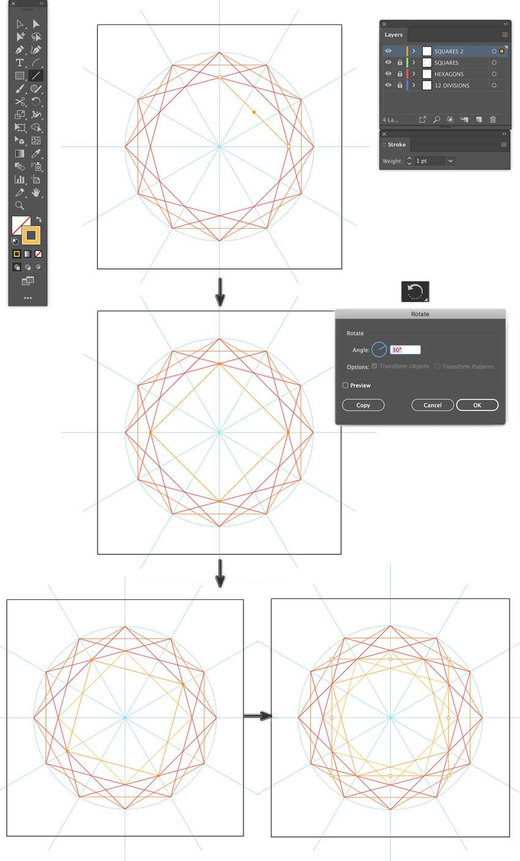 make pattern illustrator create a square line segments for islamic pattern illustrator