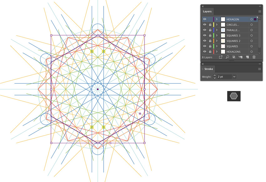 how to use polygon tool to draw hexagon shape for arabic pattern making