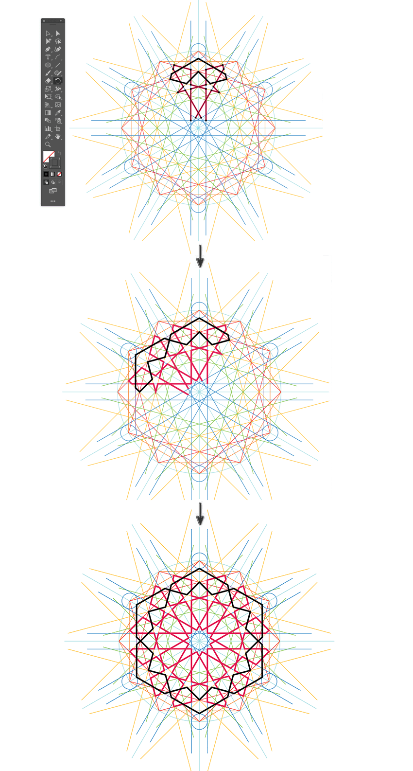 How to create repeating pattern in Illustrator using rotate tool