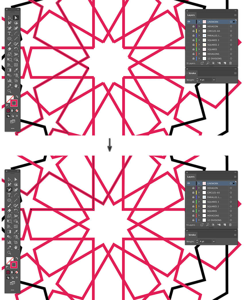 how to join anchor points for arabic pattern illustrator use direct Selection tool delete anchor point tool join anchor points