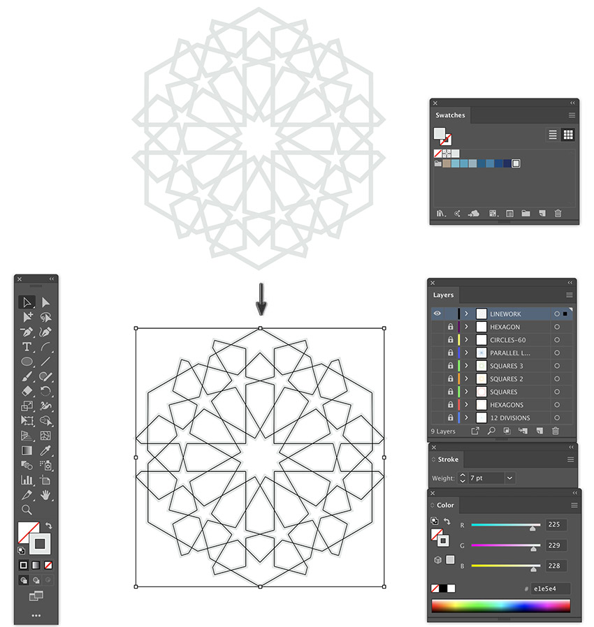 How to how to create pattern illustrator upload hex stroke colors swatch panel and apply stroke weight