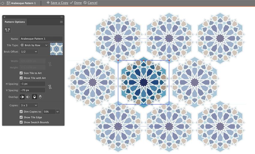How to create Arabic Illustrator pattern swatch