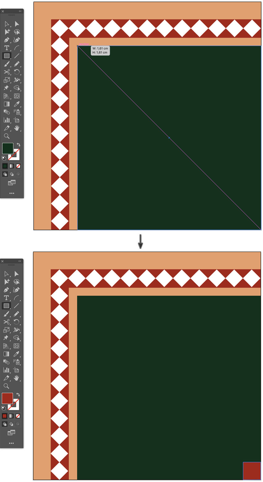 How to create square background islamic pattern border design tile