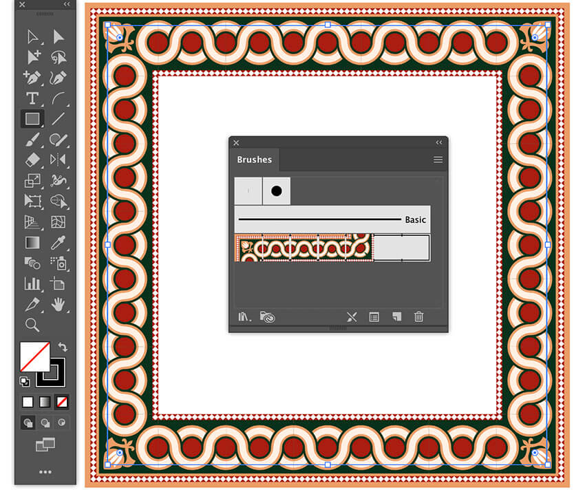 apply islamic pattern brush stroke to design illustrator borders