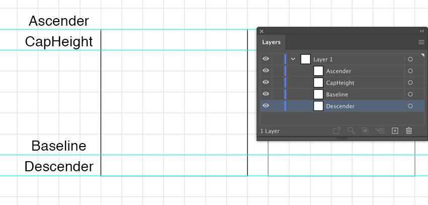 add font metrics in Illustrator Ascender Caphright Baseline Decender in Layers panel