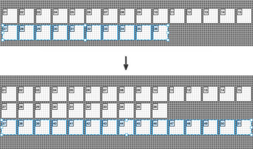 shift alt drag to duplicate artboard to new row