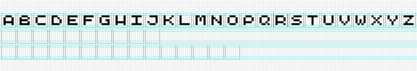 Alphabet A-Z pixel form glyphs using Rectangle tool