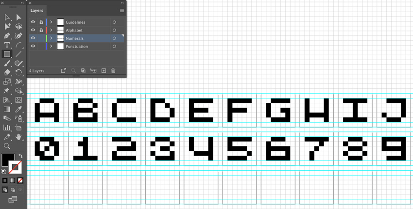 use rectangle tool black fill to create numeral glyphs on each artboard