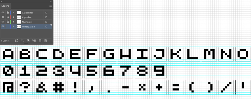 create punctuation marks glyphsin Numerals layer