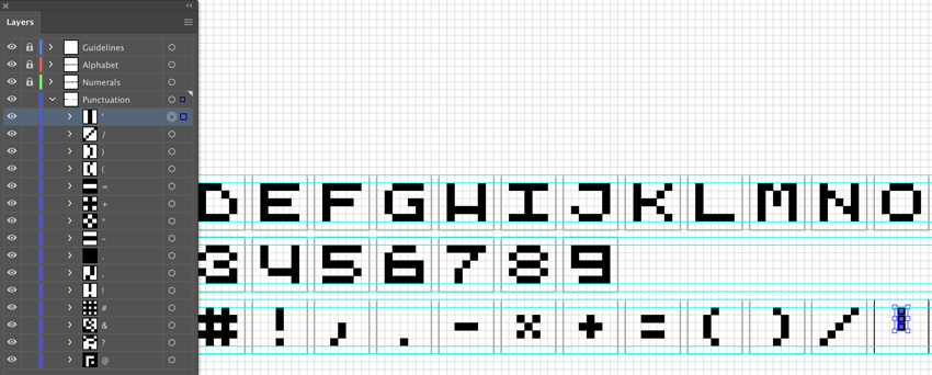 create pixel like punctuation marks group and label key shortcuts