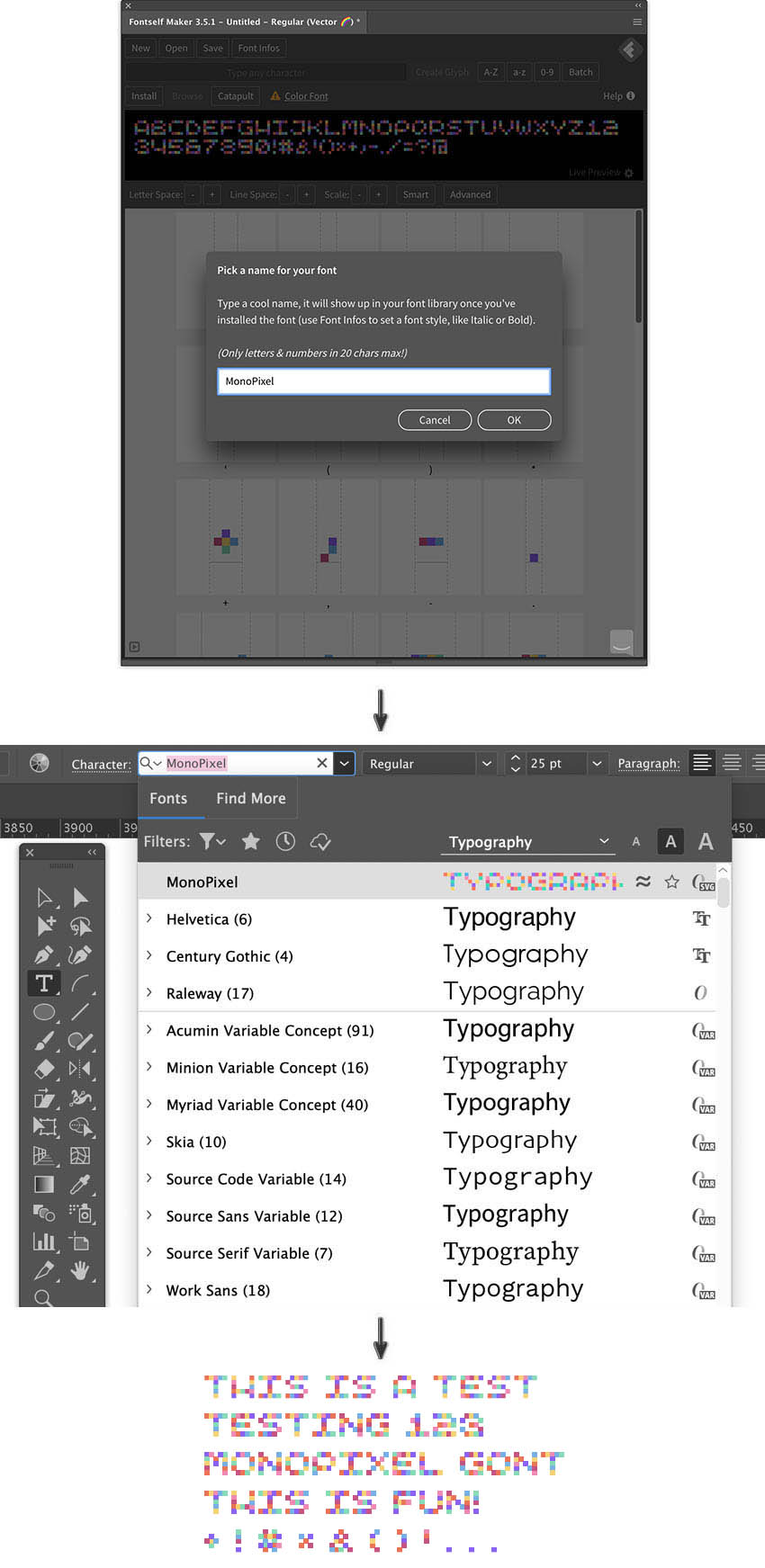 Install font Fontself Maker Home panel test character type tool test