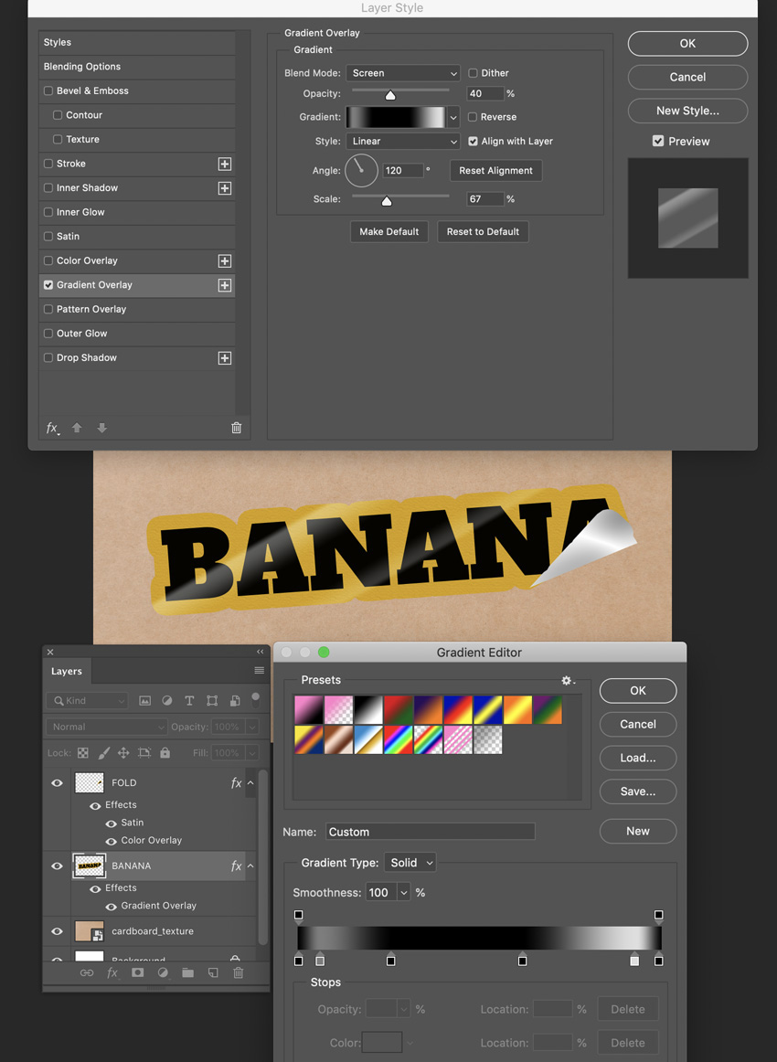 apply gradient overlay blending options for banana layer set distance scale and blend mode