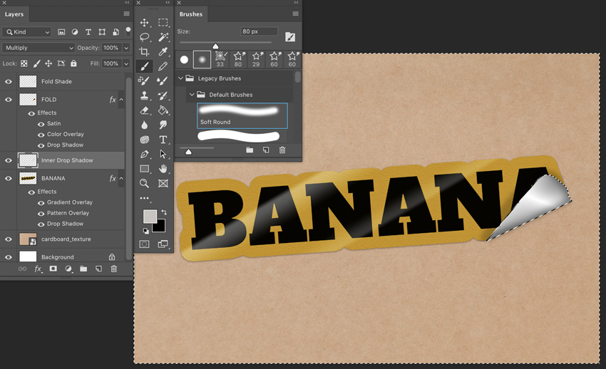 Apply 80px soft brush color fill to shade under sticker fold