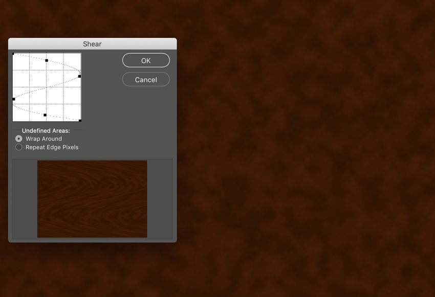distort and apply shear curve to wood grain texture s shape curve preview