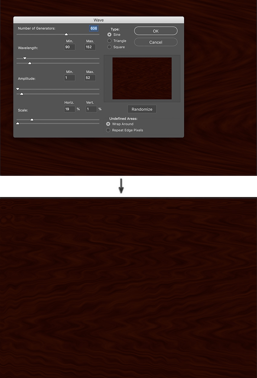 Apply Filter wave to control wavelength scale and ribbon shaped Mahogany Wood grain