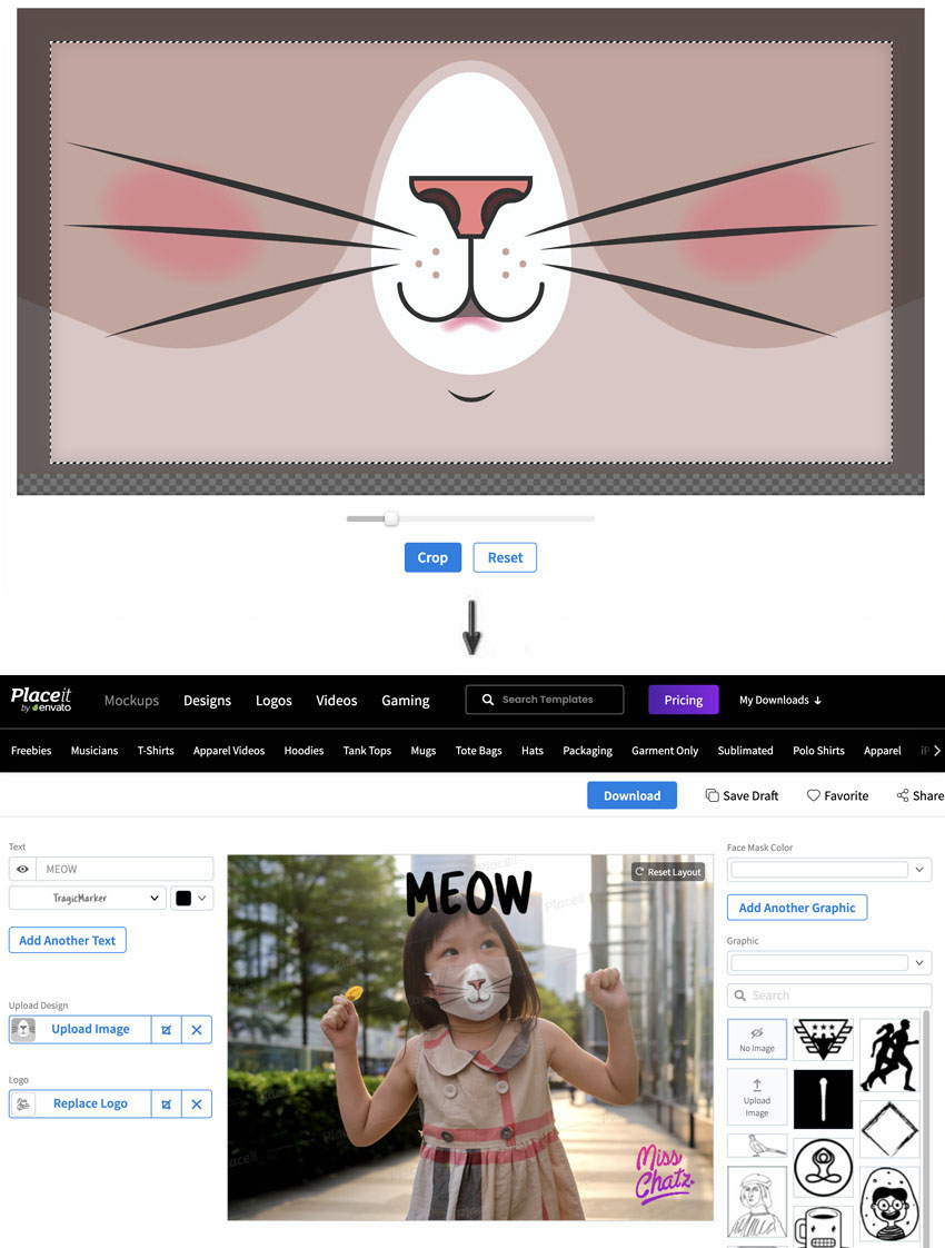 Kitten face mask upload to mockup happy little girl face mask how to custom design face mask