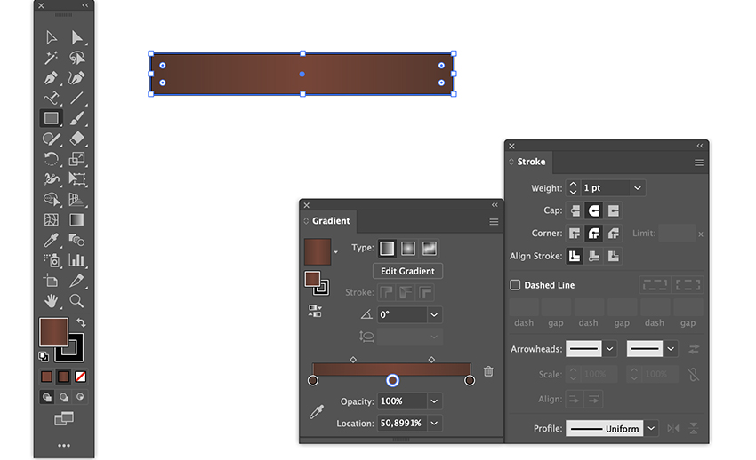 create banner strip with rectangle tool and use gradient and stroke round join option