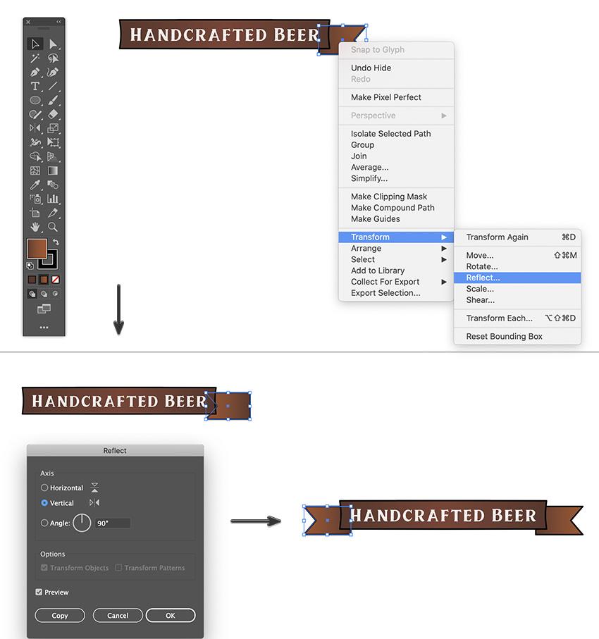 banner strip tails reflect and align send back adobe illustrator