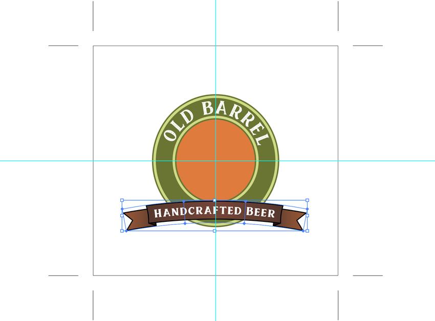 use ruler guides to center banner strip on beer label design template