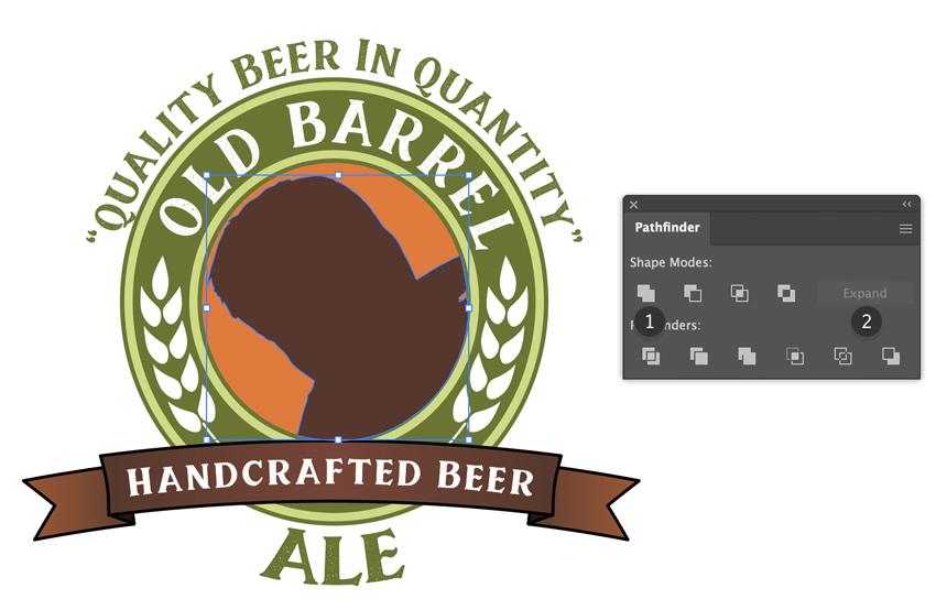 pathfinder unite and expand shape illustrator beer label design