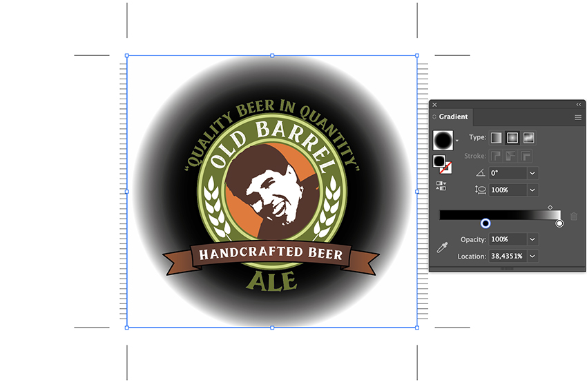 copy past in fron tsquare and give radial gradient in center beer label custom design