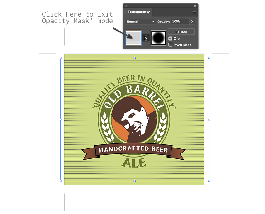 click transparency panel edit opacity clip custom beer label design template