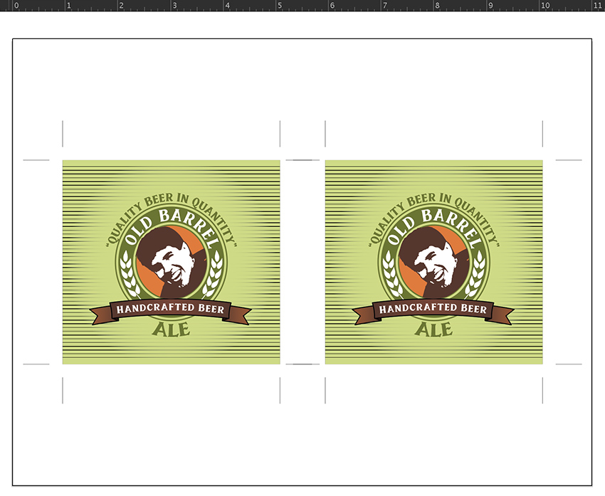 copy paste in front and place labels inches apart custom beer label design