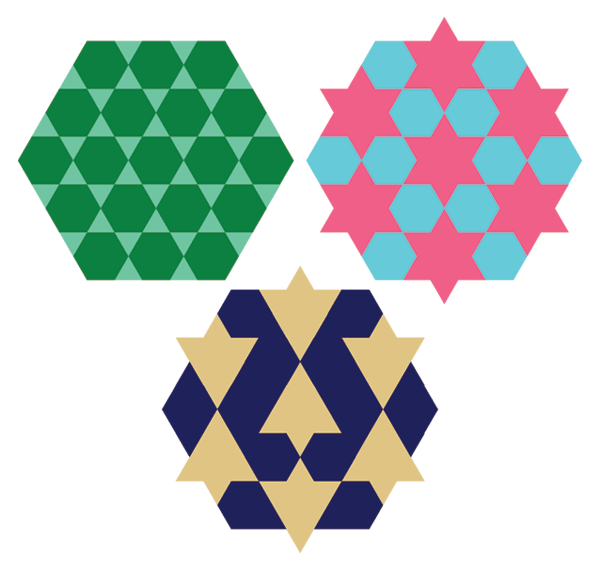 Patterns from grid of hexagrams