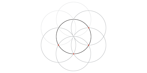 Dividing the circle into 6 step 3
