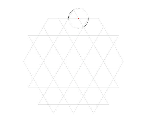 Curved hexagrams pattern step 1
