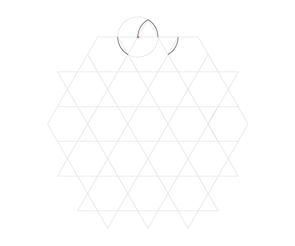 Curved hexagrams pattern step 2