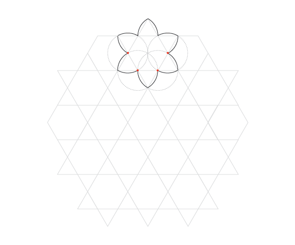Curved hexagrams pattern step 3