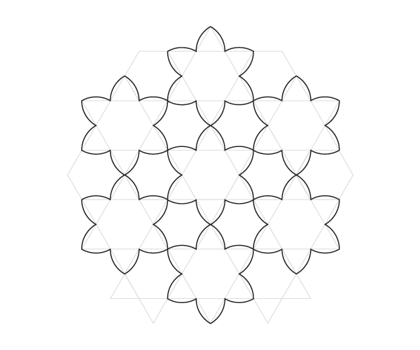 Curved hexagrams pattern step 4