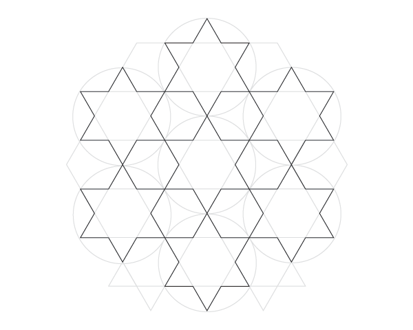 Dodecagram pattern step 1