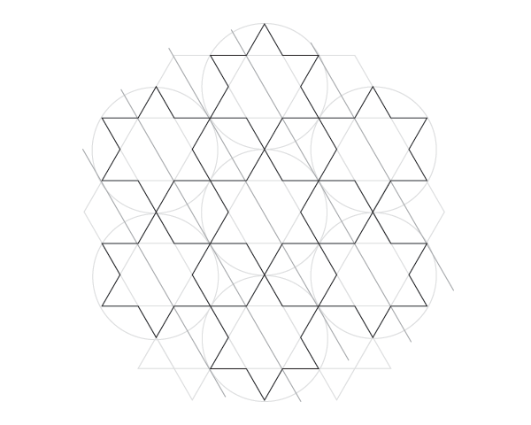 Dodecagram pattern step 2