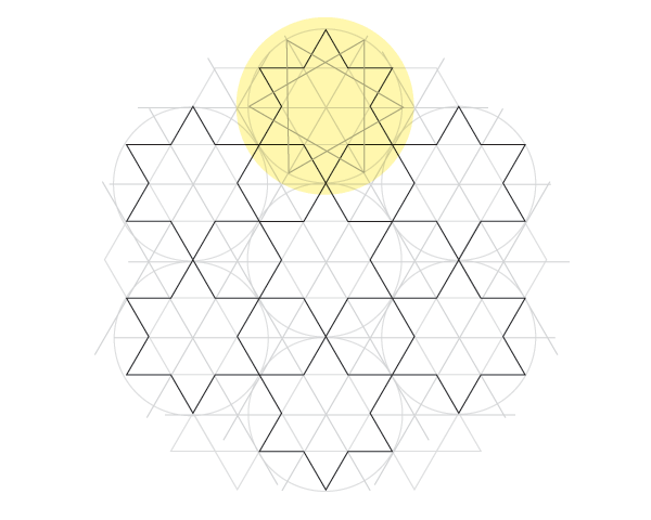 Dodecagram pattern step 3