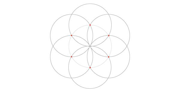 Seven-circle grid steps 1-3