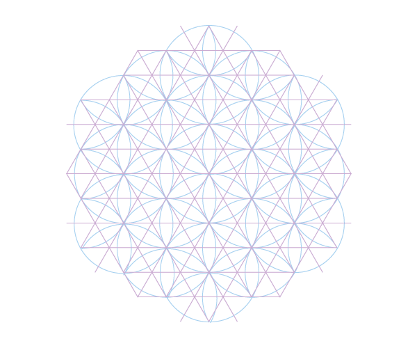 Pattern with squares triangles and hexagons starting point